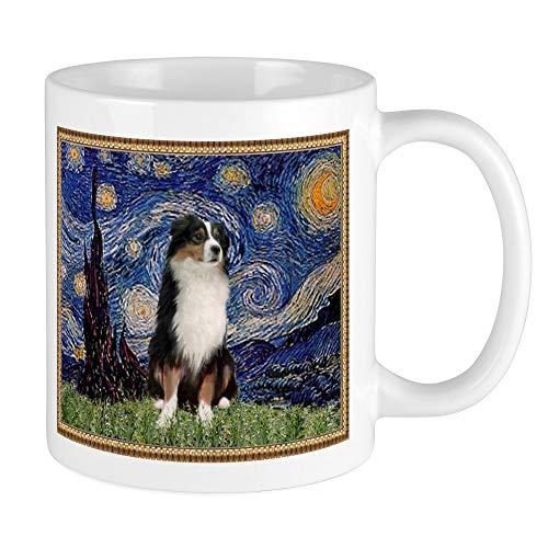 Starry Night And Australian Shepherd Mug,White