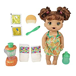 TOY BLENDER REALLY WORKS – Baby's ready for a treat! Pretend to make her a tropical shake in a real working toy blender! Add yellow doll food and water into blender. Then push down button to mix! SHE LOVES TO EAT AND DRINK – After you mix up a sweet ...