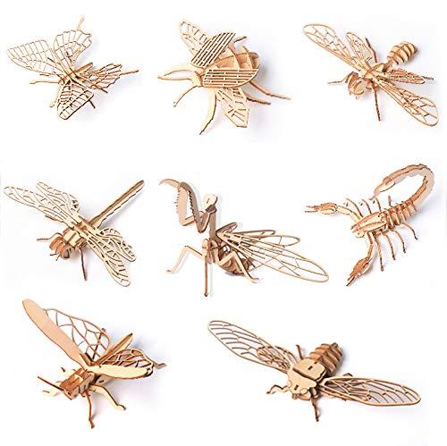 Dorime Regalo del Juguete del Montaje de Juguetes educativos Montessori Puzzle 3D Junta de Rompecabezas Rompecabezas de Madera de Insectos Animales Hechas a Mano para niños