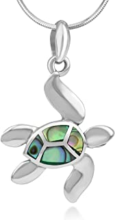 925 Sterling Silver Inlay Dangling Sea Turtle Pendant Necklace for Women, 18 Inches Chain