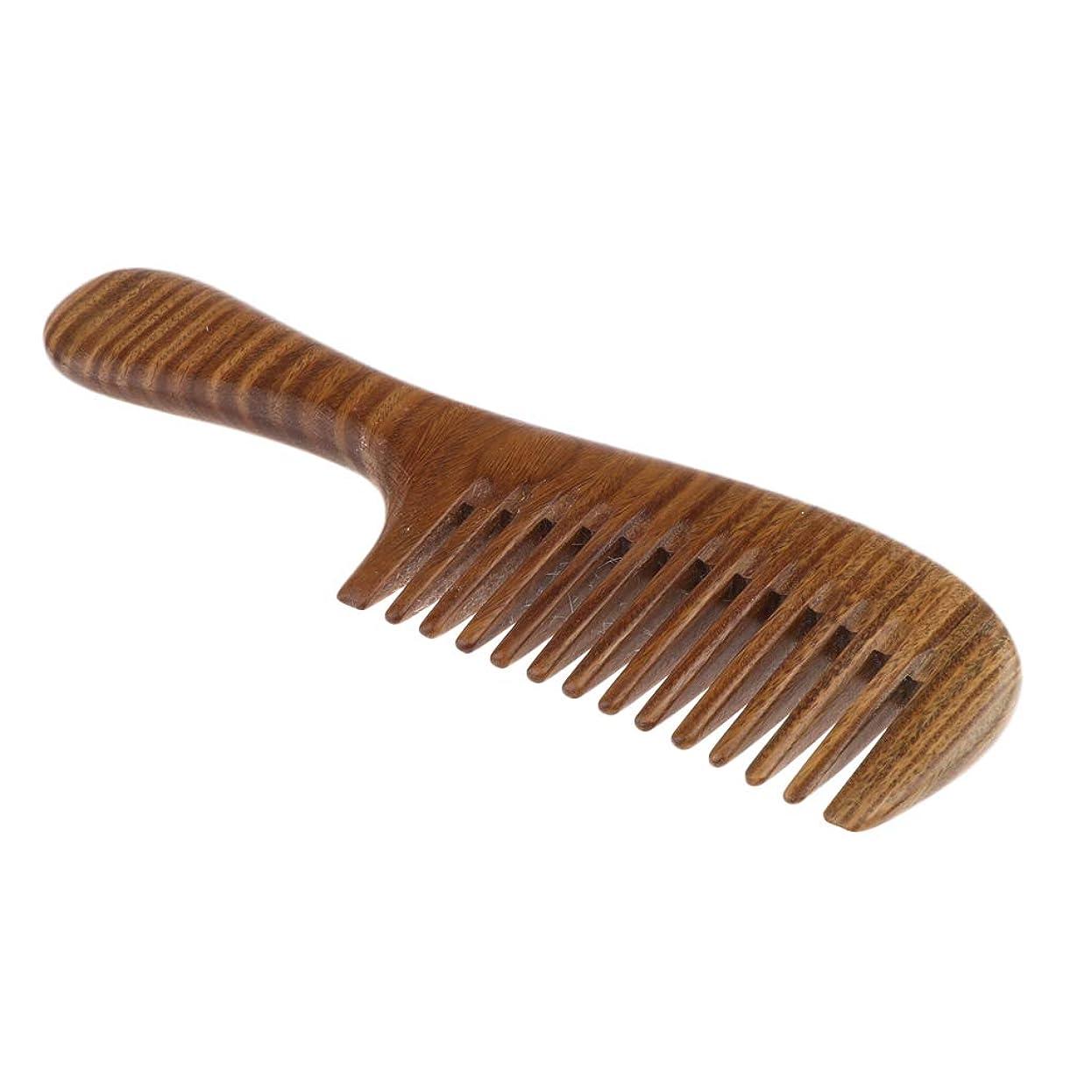球状スキャン借りている全2サイズ 木製 コーム 櫛 ヘアコーム ヘアブラシ 髪コーム 静電防止 頭皮マッサージ - 広い歯
