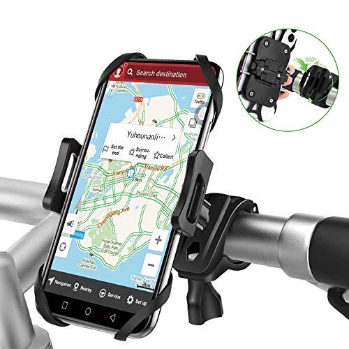自転車スマホホルダー バイク スマホホルダー 携帯ホルダー 振れ止め 脱落防止 GPSナビ 携帯 固定用 360度回転 脱着簡単 優れた耐久性 強力な保護 4-6.5インチiPhone/android全機種対応