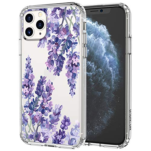 MOSNOVO Lavender Floral Flower Pattern Designed for iPhone 11 Pro Max Case,Clear Case with Design Girls Women,TPU Bumper with Protective Hard Case Cover