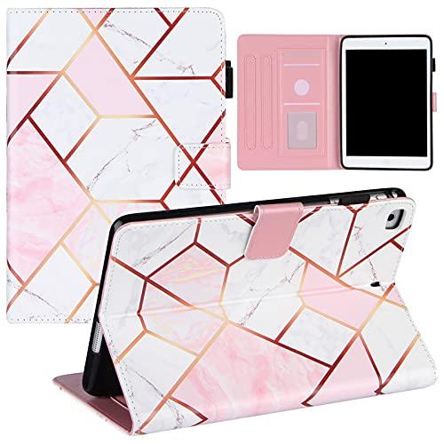 SENSBUN Funda tipo cartera para iPad Mini (7.9'') (2012) (1ª generación), mármol Smart Folio Cover Auto Sleep Magnetic Flip Funda protectora de cuero con soporte y ranura para tarjetas, rosa