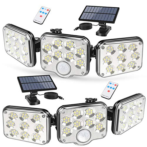 Solar Lights Outdoor, 3 Motion Sensor Heads Adjustable 2000LM Security Spotlight, 138 LEDs Flood Lights Motion Detected, 360°Rotatable IP65 Waterproof Wall Light for Garage Porch Yard Patio-2 PC