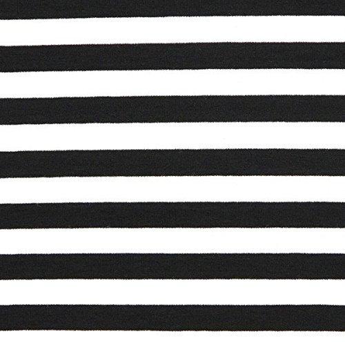 Fabulous Fabrics Jersey schwarz, Streifen, 150cm breit – zum Nähen von Oberkleidung, Hosen und T-Shirts - Meterware erhältlich ab 0,5 m