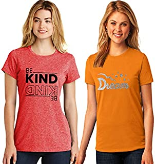 ADIMA Women's Printed Regular Fit Half Sleeve Round Neck T-Shirt (Combo Pack of 2)