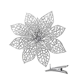 24PCS Sliver Glitter Christmas Flowers Artificial for Decoration – Hollow Out Artificial Flowers with Clips, Poinsettia Flowers Christmas Ornament Good for Christmas Tree Wreath, Wedding Decor
