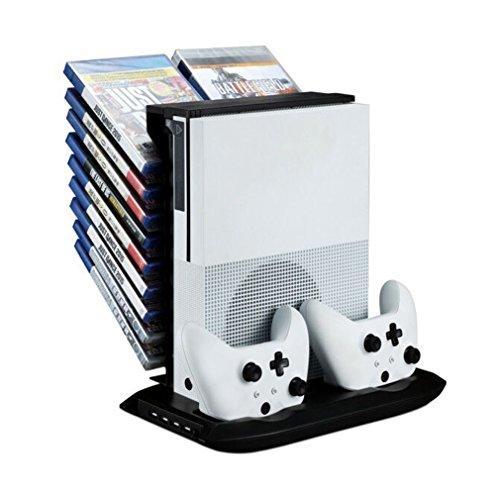 Ventilador Vertical de Soporte Xbox One S, Estación de Carga de Controladores duales, Almacenamiento de Juegos DE 18 Ranuras y concentrador USB de 4 Puertos. El refrigerador 4 en 1 para su Xbox One S
