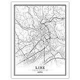 CJWDXYX Leinwand Bilder,Linzer Stadtplan Schwarz-Weiß Im