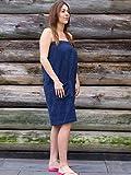 S< Saunakilt Damen Bestickt mit Name, Saunatuch mit Elastik und Klettverschluss - One Size Saunatuch für Dame (Dunkelblau)