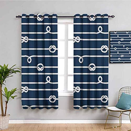 Ideal Textiles - Tende per camera da letto, orizzontali con nodi marini, con motivo a fiocco, colore: blu e bianco