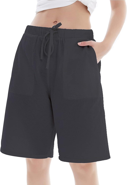 Lisskolo Women's Drawstring Linen Bermuda Shorts for Women Elastic Waist Summer Cotton Short