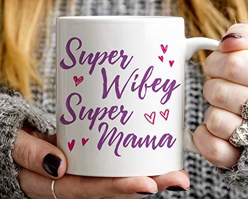 Lplpol Teetasse – Statement-Geschenk für Ehefrau, Super Wifey Super Mama, Mama Tasse, Frau Geschenk, perfekt zum Verschenken oder Sammeln, keramik, Farbe 01, 15 oz