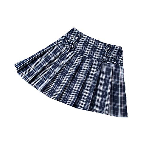 Skirts High Waist Pleated for Tennis Badminton Sport Strap with Inner Shorts Plaid Mini Training Cheerleading Uniform-Blue-L