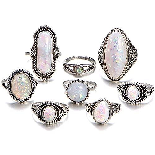 chaosong shop Juego de 8 anillos de nudillos vintage para mujeres y niñas, piedras preciosas marquesa, piedra lunar apilables conjunto