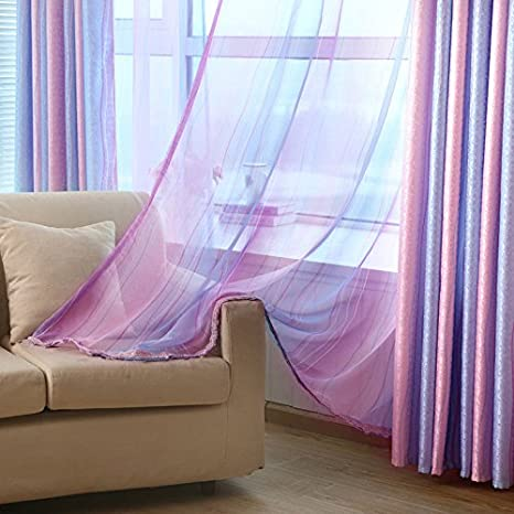 Amazon.com: 1 Pair Stripe Printed Window Sheer Curtains for Living Room  Colorful Rod Pocket Pink Purple Blue Stripes Tulle Window Door Decorative  Thin Drape Home Textile 39 x 84 inches/Piece ZZCZZC: Kitchen