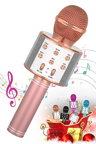 SEATANK Bluetooth Karaoke Microphone for Kids Toys, Wireless Portable Karaoke Machine, Handheld Mic Speaker Christmas Birthday Party for Kids Gifts Android/iPhone Compatible (858 Rose Gold)