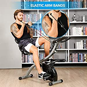 TELESPORT Magnetic Recumbent Bike with Arm Bands, Folding Exercise Bike with Heart Monitor, Indoor Cycling Stationary Bike, 8 Level Resistance, Adjustable Seat & Transport Wheels (Black4 (Recumbent))