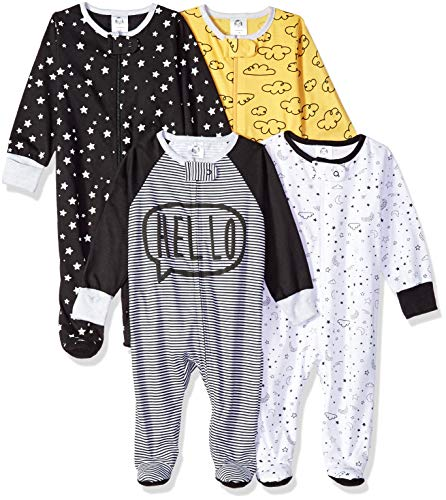 Gerber Baby Boys' 4 Pack Sleep N' Play Footie, Star, Newborn