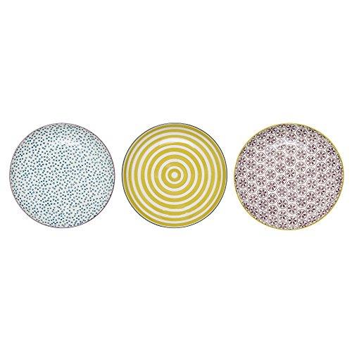 Bloomingville kleine Teller Patrizia, blau gelb lila, Keramik, 3er Set