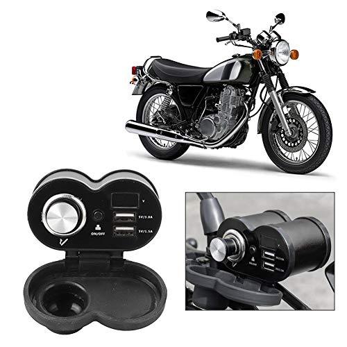 Adaptador de cargador de teléfono USB para manillar de motocicleta 5V 1.5A + 3.0A Puertos USB dobles 12V Toma de corriente para encendedor de cigarrillos de coche para coche Barco Moto Marina(negro)