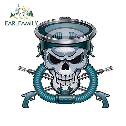 A/X 13cm x 12.4cm for Simple Blue and Gray Skull with Harpoon Guns Motorcycle Car Stickers Fashion Graffiti Sticker Decal