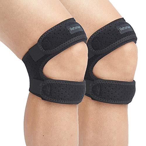 Patella Knee Strap, Rebomer Adjustable Knee Brace (3D Silicone Insert) for...