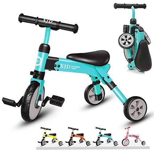 XJD 2in1 Multi klappbar Kinder/BabyLaufrad Dreiräder EasyGo inkl. Tragetasche CE-Zertifizierung 2-4 Alt (Himmelblau)