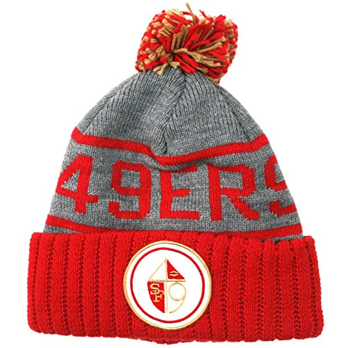 Mitchell & Ness San Francisco 49ers High 5 Grey Cuffed Pom Knit Beanie Hat/Cap