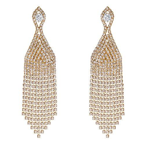 BriLove Wedding Bridal Dangle Earrings for Women Beaded Tassel CZ Crystal Fringe Chandelier Earrings Clear Gold-Toned