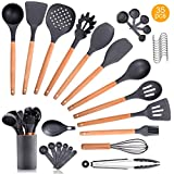 35PCS Wooden Silicone Kitchen Cooking Utensils Set with Holder for Countertop Turner Tongs Spatula Spoon Kitchen Gadgets Utensil Sets for Nonstick Cookware Kit Drying BPA Free Non Toxic Black Gray