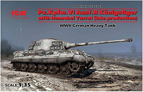 ICM 1/35 Scale Pz.Kpfw.VI Ausf.B King Tiger with Henschel Turret (Late Production) - WWII German Heavy Tank Model Building Kit #35363