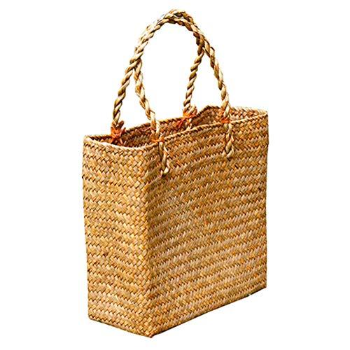 Bolsa de playa tejida a mano, Bolsos de paja Mujeres Compras, Bolsa tejida de paja de playa Capacidad portátil de punto grande cesta cartera