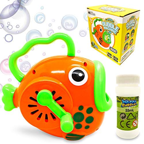WhizBuilders Bubble Machine for Kids Toddlers Fish Bubbles Blower Wands Toys Gift with Big Bubble Solution Refill – Summer Outdoor Pool Giant Large Water Bubbles Maker Hand Manual Baby Toy Gun