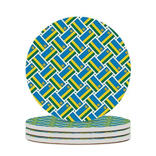 R&e Getränkeuntersetzer aus saugfähigem Stein Set Ruanda-Flagge Webart Leicht zu reinigen Bechermatte Kratzschutz Tischschutzmatte für Familie & Fre&e