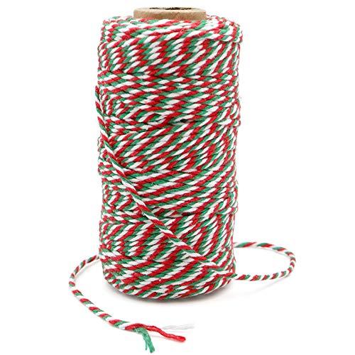 G2PLUS 328-Fuß Weihnachten Deko Kordel, 2MM Bastelschnur Schnur für DIY Kunstgewerbe Gartenarbeit (Grün Rot und Weiß)