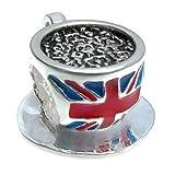 Abalorio para colgante de plata de ley y esmalte con forma de taza de té británica, de Queenberry...