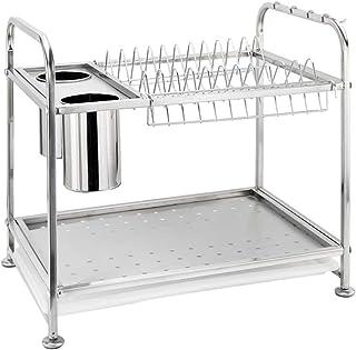食器乾燥ラック 水切り ステンレススチール 2段 ステンレススチール キッチンディッシュ水切りラックホルダー 食器乾燥ラック キッチンラック 箸ケージ付き フック4個 トレイ付き