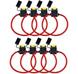 Tian 8 Pack Portafusibles en Línea Impermeable Portafusibles de Lámina 14AWG 12V 20Amp Fusibles de la Cuchilla para Coche (Tamaño Mediano)