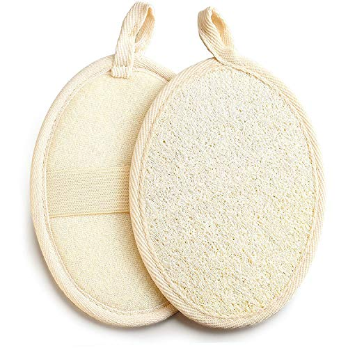 Exfoliating Loofah Pad 2 pack 100% Natural Loofah Sponge Scrubber Brush Close Skin