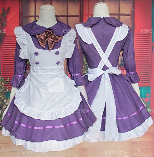 Lolita Cosplay Kostüm Lila Dienstmädchen Outfit Herbst Winter Restaurant Kellner Arbeitskleidung 3 OneSize