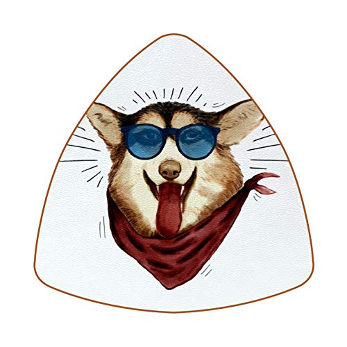 Posavasos triangulares para bebidas de perro con gafas de sol, taza de cuero, alfombrilla para proteger muebles, resistente al calor, decoración de bar de cocina, juego de 6
