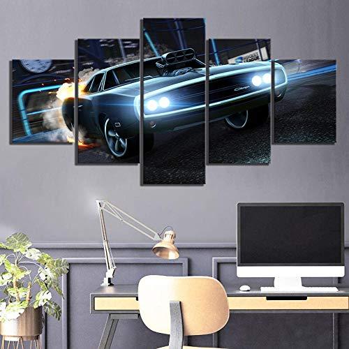 WJWORLD Canvas afdrukken Wooncultuur Canvas Hd Print Poster 5 Panel sportwagen Rocket League spel Schilderen Moderne muurkunst Modular 20x35cmx2,20x45cmx2,20x55cmx1 Frame