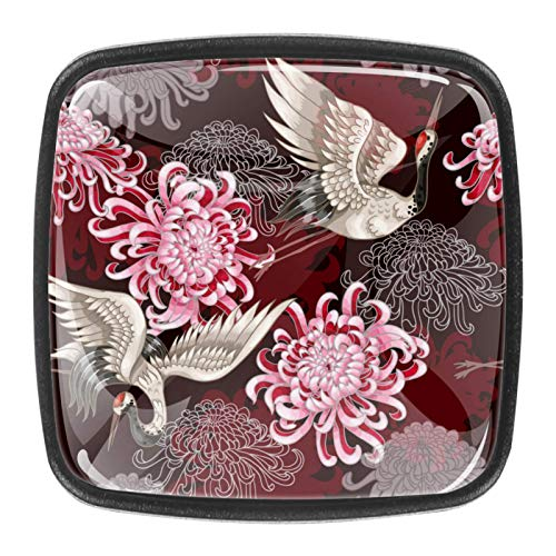 Grulla Blanca Japonesa y crisantemo Estilo magnífico gabinete de cerámica perillas Tire manijas para Muebles Armario cajón Armario Cocina baño