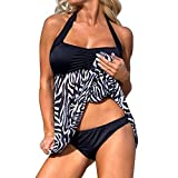 Womens Sexy Halter Patchwork Printed Open Back Tankini Top Set Two Piece Swimsuits (3XL, Black)