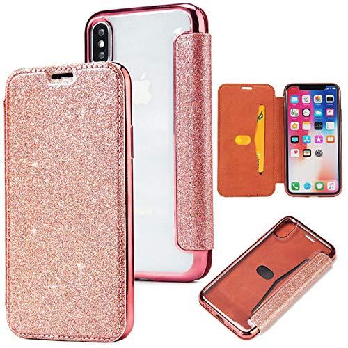OPXZPM Carcasa de telefono Cartera de TPU deCuero Slim Book iPhone 6 6S Plus 7 8 X XS XR XS MAX Soporte de Tarjeta, Bling Rose Gold, para iPhone 8 Plus