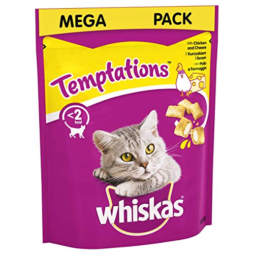 Whiskas Temptations - Tasty, Crunchy Cat Treats, Small Bite Size Snacks with A Delicious Chicken & Cheese Filling, 4 x 180 g Mega packs