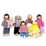 Wooden Doll House Family Dress-up Characters, Family Role-Play Dress-up Characters Grandpa, Grandma, Mom, Dad, Children, Baby Family of 7
