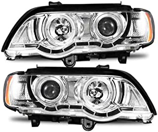SPPC Projector Headlights Chrome Assembly with Halo Rings for BMW X5 E53 - (Pair) Includes Driver Left and Passenger Right Side Replacement Headlamp